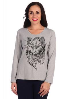 Серый лонгслив с котом Lovetex