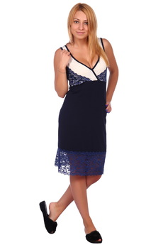 Сорочка ночная_С-49_темно-синяя ElenaTex