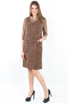 Коричневое платье с карманами Bast