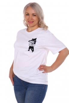 Белая футболка с кошкой ElenaTex